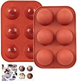 2 Pack 6 Holes Silicone Mold For Chocolate, Cake, Jelly, Pudding, Handmade Soap, Round Shape Semi Sphere Mold