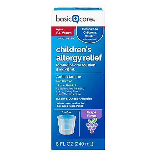 Amazon Basic Care Children's Allergy Relief Loratadine Oral Solution 5 mg/5 mL, 8 Fluid Ounces