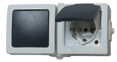 Kopp 138656001 Nautic Steckdose und Schalter Kombination für Feuchtraum, Schwarz, Grau