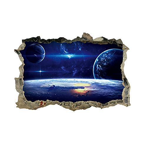 LAMEIDA Pegatina de Pared de vinilos Decorativos 3D Planeta Series Etiqueta extraíbles de Estrellada Adhesivo de Pared Tridimensional del Arte Mural para decoración Ventana hogar (Azul b)