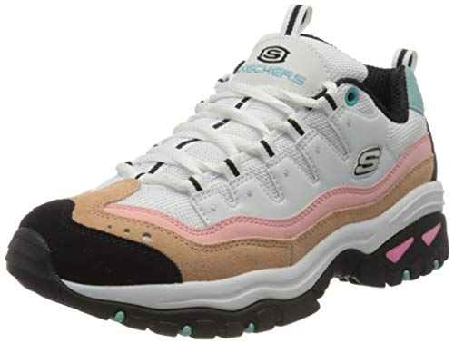 Skechers Energy-Sunny Waves, Zapatillas Clasicas para Mujer, Blanco/Rosa/Azul, 36 EU