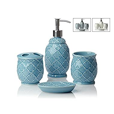 Comfify Bathroom Designer 4-Piece Ceramic Bath Accessory Set - Includes Liquid Soap or Lotion Dispenser w/Toothbrush Holder, Tumbler, Soap Dish - Moroccan Trellis - Bath Accessories Set