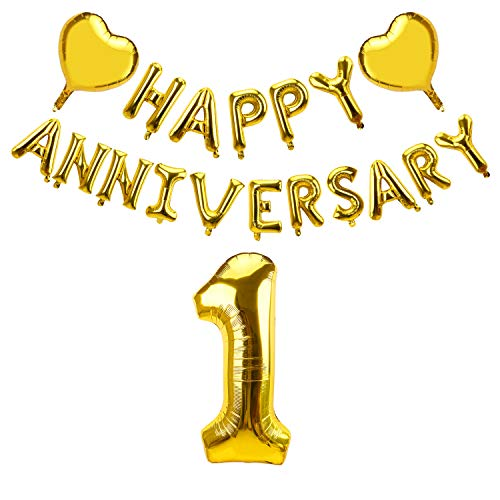 Yoaokiy 1 Year Anniversary Balloon Decorations, Happy 1st Anniversary Party Supplies - Gold Glitter 1 Year Anniversary Balloon Banner with 2 Heart Foil, 1st Wedding Anniversary Supplies Decorations