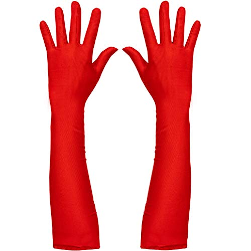 Skeleteen Red Satin Opera Gloves - Roaring 20's Fancy Flapper Elbow Gloves - 1 Pair