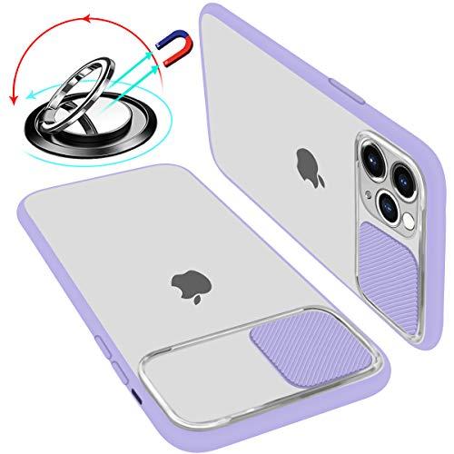 UNIOTEK Hülle kameraschutz kompatibel Mit iPhone 11 Weich Kanten Stoßfeste Anti-Scratch Hülle Matte Transparent Kamera Schutz Handyhülle Slide Kameraschutz Mit 360 Grad Ring Ständer (Lila)