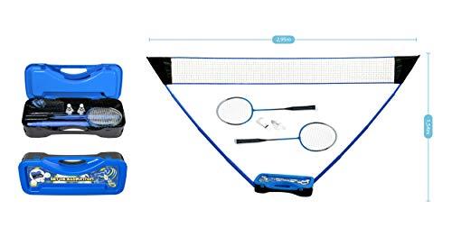 PLAY4FUN Badminton Set Complet avec Filet, Raquettes, Volants et Etui de Rangement 295 x 38 x 154 cm Bleu