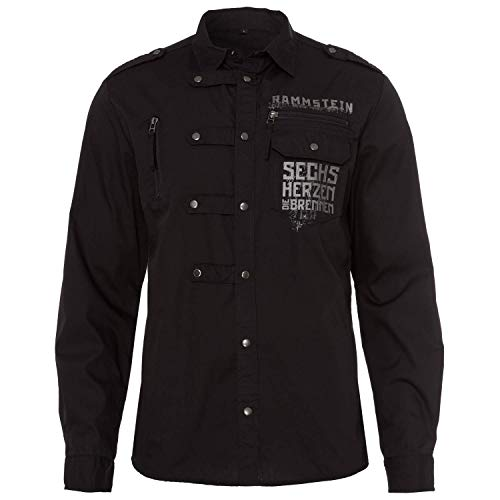 Rammstein Herren Hemd 6 Herzen mit langem Arm, Offizielles Band Merchandise Fan Shirt schwarz (S)