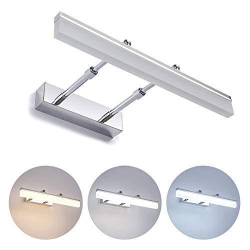 Yafido 8W Dimmbar LED Badleuchtemit Fernbedienung(3000K-7000K) 700lm 230V IP44 Wasserdichte LED Spiegelleuchte AC110-265V Dimensione: 400*250*55mm Ideal für den Einbau in Badzimmer