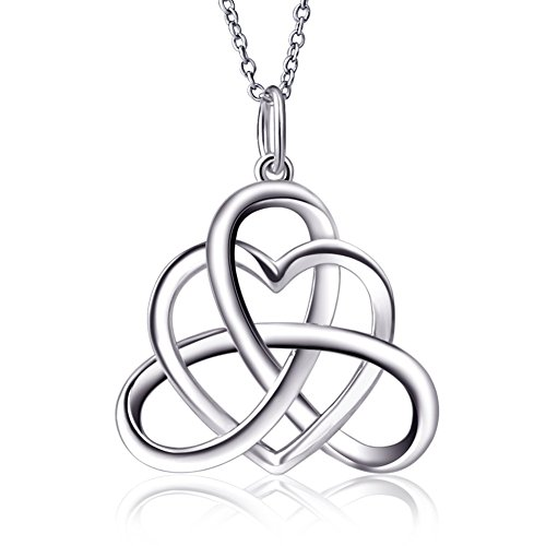 DAOCHONG 925 Sterling Silver Good Luck Irish Heart with Triangle Celtic Knot Vintage Pendant Necklace, Rolo Chain 18'