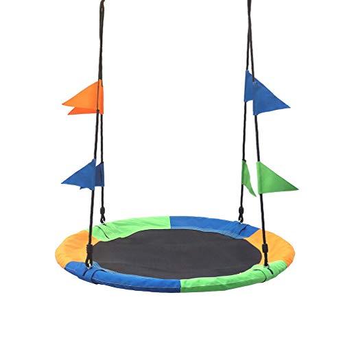 Balançoire d'arbre de 40 po, balançoire à soucoupe volante de 700 lb avec cadre en acier et grand ensemble de balançoire rond Installation facile avec 2 sangles de suspension et drapeaux colorés
