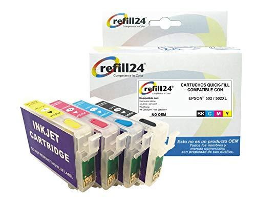 refill24 Cartuchos Recargables Compatible para Epson 502/502XL