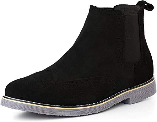 Alpine Swiss Mens Chelsea Boots Genuine Suede Dress Ankle Boots Wingtip Shoes Black 8 M US