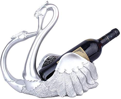 Decoración para el hogar Escultura moderna Decoración de vino estante pareja cisne estatua botella de vino titular de resina escultura adornos soporte de vino Decoración de bar