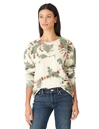 Lucky Brand Women's Long Sleeve Crew Neck Tie Dye Pullover Sweatshirt, Whisper White, XL