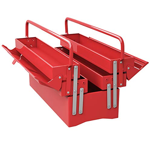 Goplus 20-Inch Metal Tool Box Portable 5-Tray Cantilever Steel Tool Chest Cabinet, Red