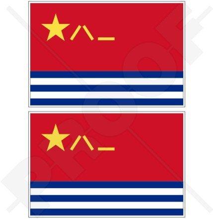 Chine chinois Naval de Marine, Azur planaf Drapeau 10,2 cm (100 mm) en vinyle Bumper Stickers, Stickers x2