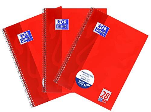 Oxford Collegeblock A4 kariert, rot, 3er Pack