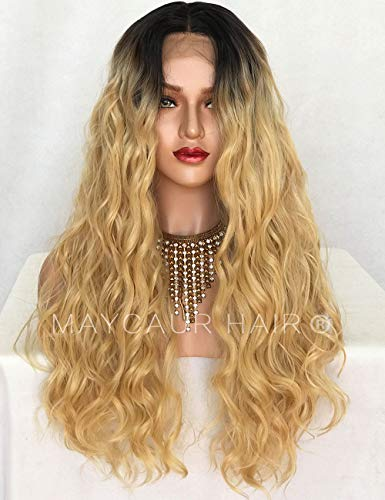 Maycaur Couleurs mélangées frontale de dentelle des Perruques Cheveux longs bouclés synthétiques Perruque lace front pour femme noire aspect naturel (Noir # 613 bouclés)