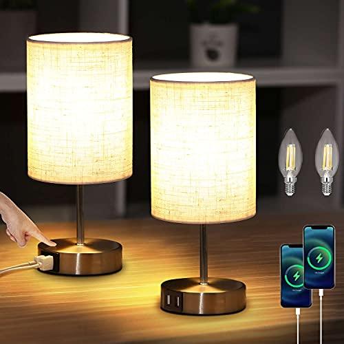 Lightess 2 Piezas Lámpara de Mesa Táctil Control Lámpara Mesita de Noche LED Regulable Beige Pantalla de Tela Lámpara Sobremesa 2 Puertos USB para Dormitorio, Habitación de Bebé, Incluye Bombillas, S3