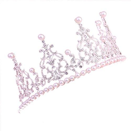 Corona de cristal para decoración de tartas de boda, accesorio de accesorios Diseño elegante con cristales de alta calidad bañados en plata y perlas de imitación. Puedes utilizar esta corona de tiara para decoración de tartas o paginero de belleza. S...