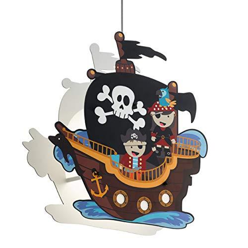 EGLO SAN CARLO Hängeleuchte für Kinder, Kinderlampe mit Piraten Motiv, Deko für Jungen und Mädchen, Pendelleuchte für Kinderzimmer Bunt, Piratenschiff Lampe, Stahl, 28 W, weiss