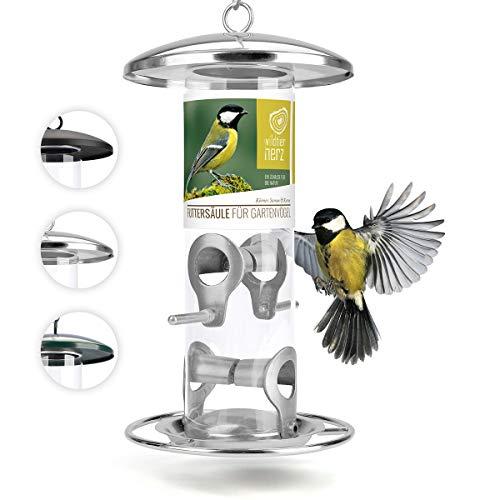 wildtier herz | 26cm Körner Vogelfutterspender silbern - 5 Jahre Garantie - Edelstahl Vogel Futterstation, Futtersäule, Wildvögel Futtersilo, ganzjährige Fütterung