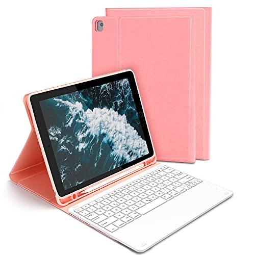 Beleuchtete Tastatur Hülle für Neues iPad Pro 2020/2019 10,2 Zoll, iPad Air 2019(3. Gen), iPad Pro 10,5 2017, Bluetooth QWERTZ Tastatur mit Schützhülle/Pencil Halter, Pink