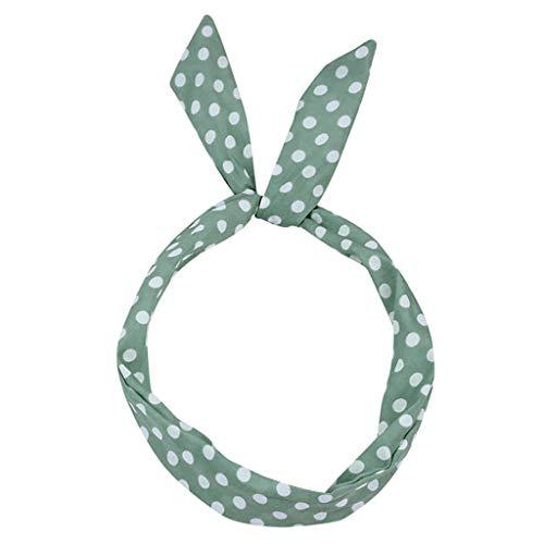 Niedlich biegbares Haarband Bunny Ohr binden Bow Stirnband Retro Schal Draht Haarband Twist Bow Wired Stirnbänder mit Polka Punkt für Damen (Grün)