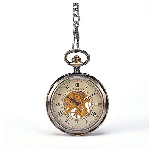 HHTD Reloj de Bolsillo Romano Romano Gran relojería Viejo Reloj de Bolsillo Retro sin Cubierta Mecánica Reloj Creativo Hueco Hollow Gráfico de Pared Cumpleaños Aniversario Navidad Padre Regalo