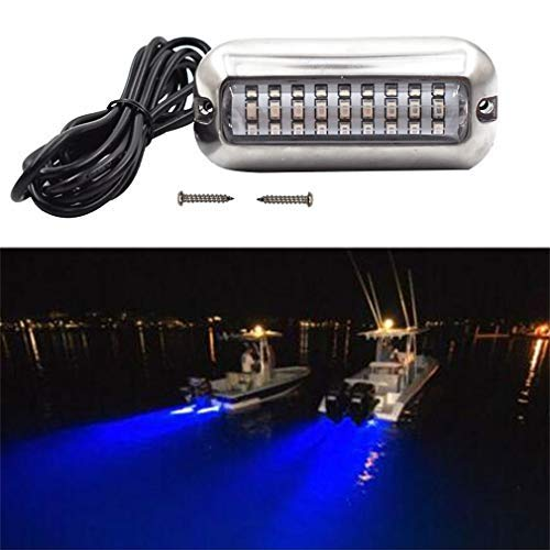 Blue 27LED 50W Underwater Boat Marine Transom Lights 316 Stainless Steel Pontoon Transom Lights Boat Deck Light Stern Lights Fishing Night Light
