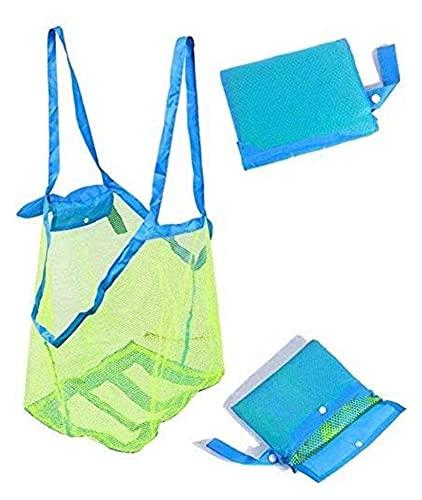 Bolso de la playa de Mesh, bolso de juguete para niños de juguete de playa, bolsa de playa ligera y duradera de malla y bolso, plegable y lavable, adecuado para viajes y vacaciones ( Color : Green )