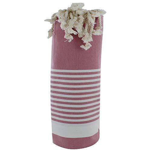LES POULETTES Fouta Badetuch Alt Rosa Baumwolle und Weiß Streifen