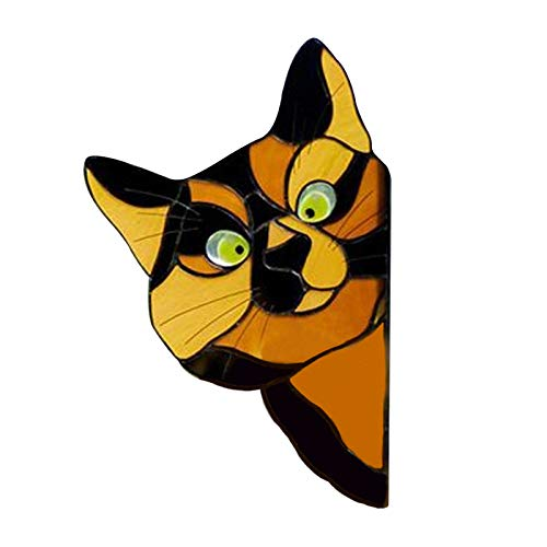 UNHU Fensteraufkleber Auto Katze Window Sticker, Lustig Tiere Fensterfolien Fenstersticker Fensterbilder für Kinderzimmer Wohnzimmer Schlafzimmer Home Deko (Gelb)