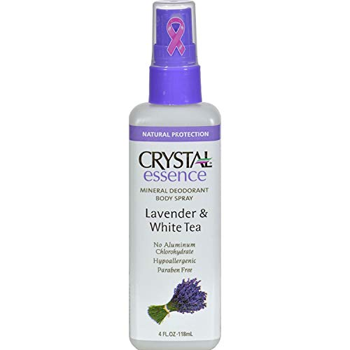 Crystal Deodorant Essence Spray 4 Ounce Lavender & White Tea (118ml) (2 Pack)