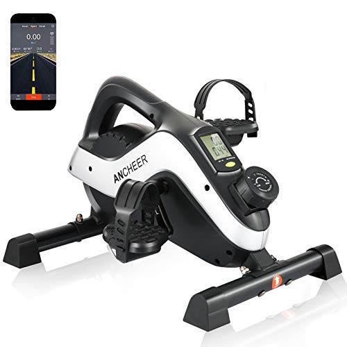 ANCHEER Under Desk Cycle Mini Stationary Bike for Leg and Arm Exercise with LCD Monitor, 2-in-1 Pedal Exerciser PE-Bike Pro for iOS and Android with Free APP