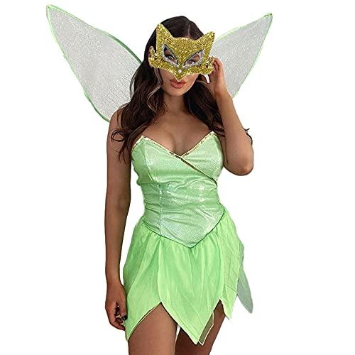 Disfraz de hada del bosque para mujer, vestido corto de princesa, disfraz de Halloween con alas, verde, M