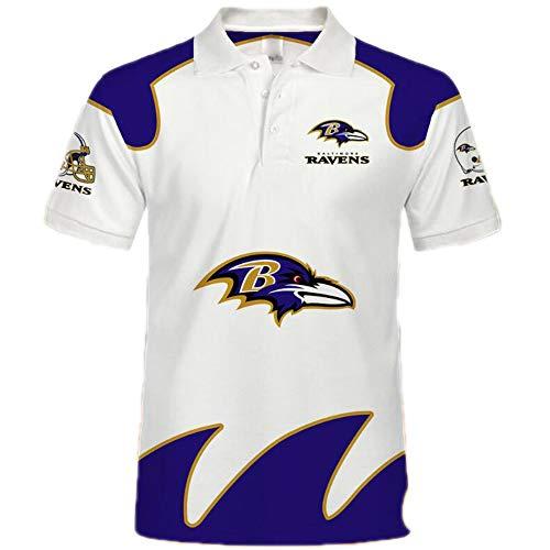 NFL Unisex Amerikanisch Fußball Poloshirt - Trikot Logo Kurzarm Sweatshirt American Football Polo Hemd(Baltimore Ravens 5XL)