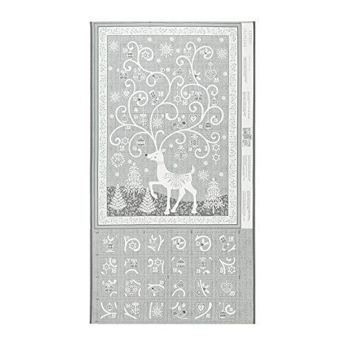 Andover/Makower UK Scandi 2019 Scandi Advent Calendar Silver Quilt Fabric