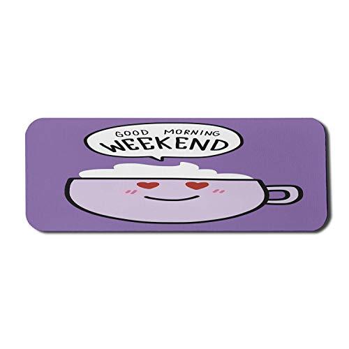 Gaming Mauspad Morgen Wochenende Schriftlich Lächelnd Kaffeetasse Rutschfestem Gummiunterseite Mousepad Anti-Ausfransen Stabiler Gaming Mausmatte 25X30Cm