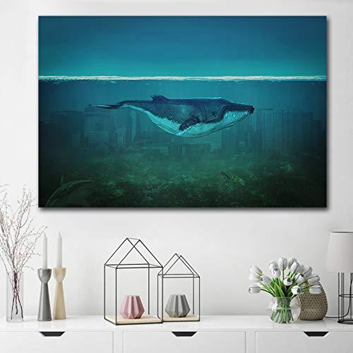 GJQFJBS Impression sur Toile Sika Cerf Animal Affiche Restaurant Décoration Peinture Salon Salon Chambre Chambre Décoration Murale A2 A2 70x100 cm