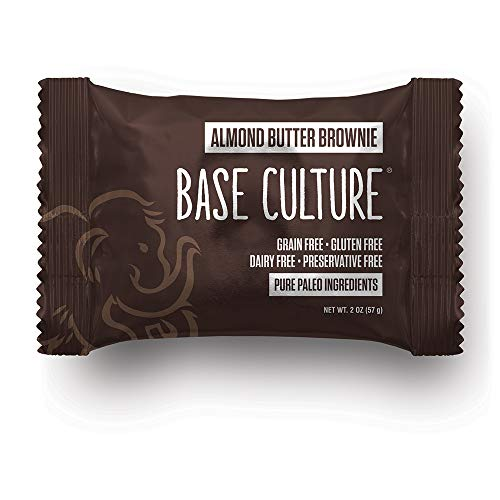 Base Culture Almond Butter Brownie | All Natural 100% Paleo, Gluten, Grain, Dairy, and Soy Free & No Added Sugar (6g Protein per Serving, 20 Count)