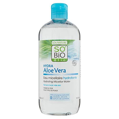 So'Bio Étic - Agua Micelar Limpiadora Aloe Vera y Lleche Desmaquillante Hidratante Aloe Vera, 500 ml