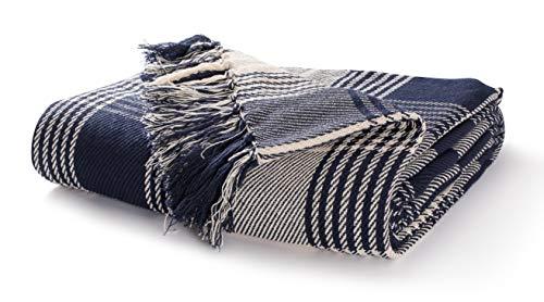 EHC Premium Reversible 100% Baumwolle Large 225 x 250 cm Tartanüberwürfe für Sofa, Tagesdecke, Marineblau