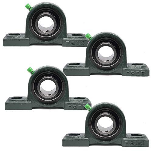 """PGN - UCP205-16 Pillow Block Mounted Ball Bearing - 1"""" Bore - Solid Cast Iron Base - Self Aligning (4 Pack)"""