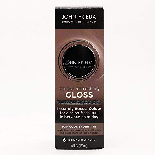 John Frieda Colour Refreshing Gloss, Cool Brunette,  6 Ounce, Silky,  Deep Espresso Brown Hair Treatment, Extend Color, Ammonia and Peroxide Free