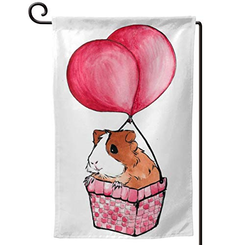 QSMX Guinea Pigs Balloon Double-Sided Outdoor Garden Flag,Welcome Yard Flag,Weather Resistant Home Decorative,Primitive Yard Decor for Patio Lawn Terrace Balcony