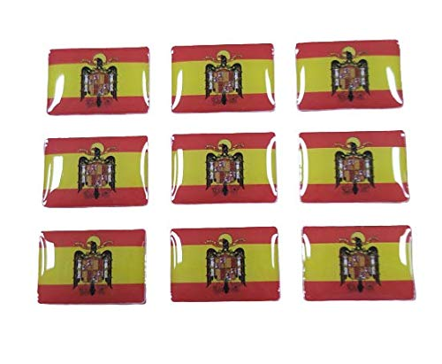 Pegatinas Bandera España Aguila de San Juan 16x11mm Recreación Histórica-Réplica Militar