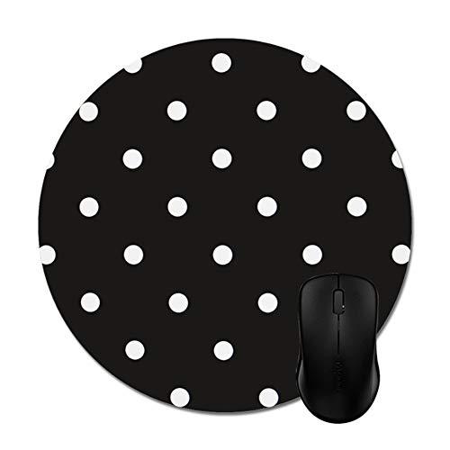 "Smity 106 Black White Polka Dot Mouse Pads Trendy Office Desktop Accessory Round 8"""