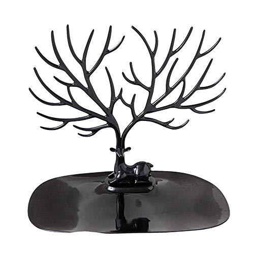 JOMOSIN SNH0216 - Soporte de exhibición para árbol de joyas, collares, pulseras y pendientes, con bandeja de anillo (color negro, tamaño: 20 x 15 x 22 cm)