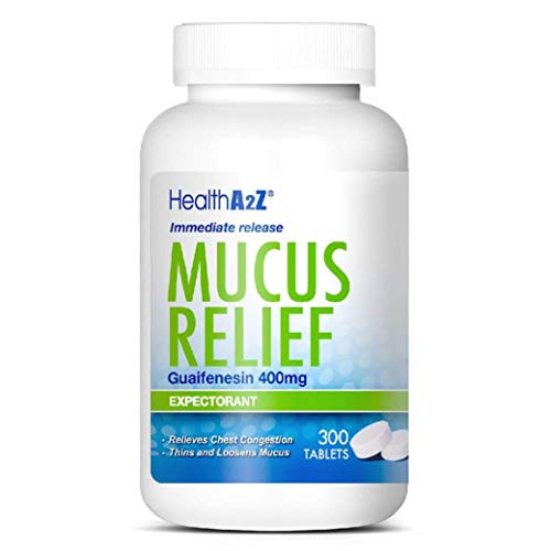 HealthA2Z Mucus Relief, Guaifenesin 400mg, 300 Tablets, Immediate Release, Expectorant